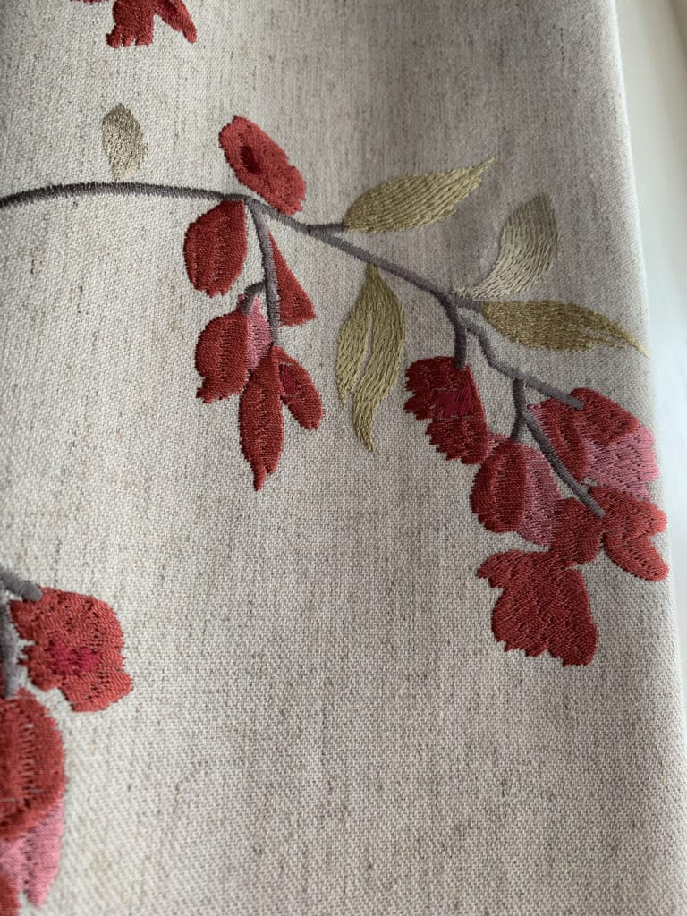 close up of flower fabric